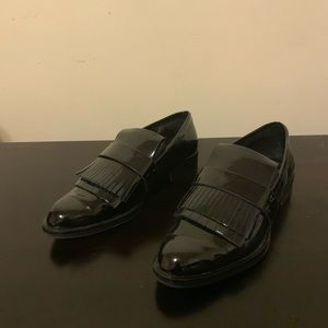 Zara Black Patent Leather Loafers